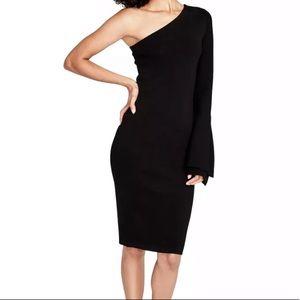 Rachel Roy Black Fitted One Shoulder Dress M